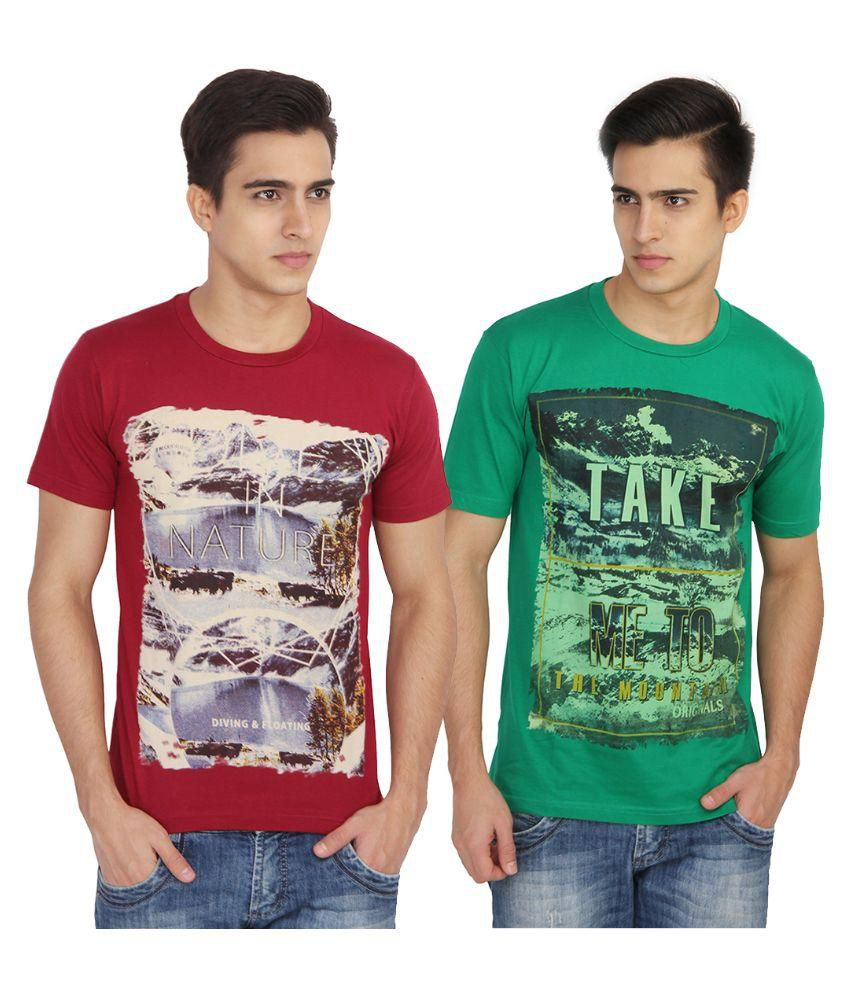 Vouteil Multi Round T-Shirt Pack of 2