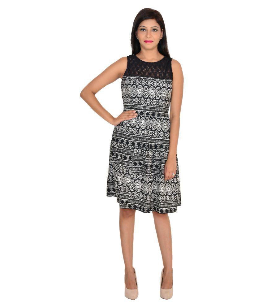 VS Fashion Black Poly Crepe Dresses