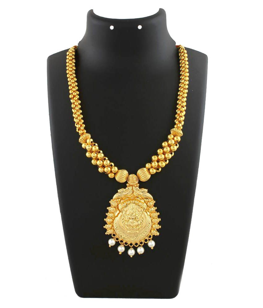 Anuradha Art Golden Finish Styled With South-Indian Pattern Thushi Necklace For Women