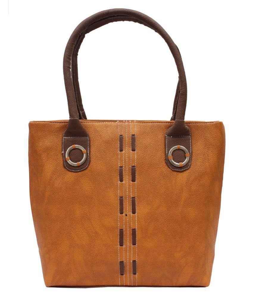 Deffassa Khaki Faux Leather Shoulder Bag