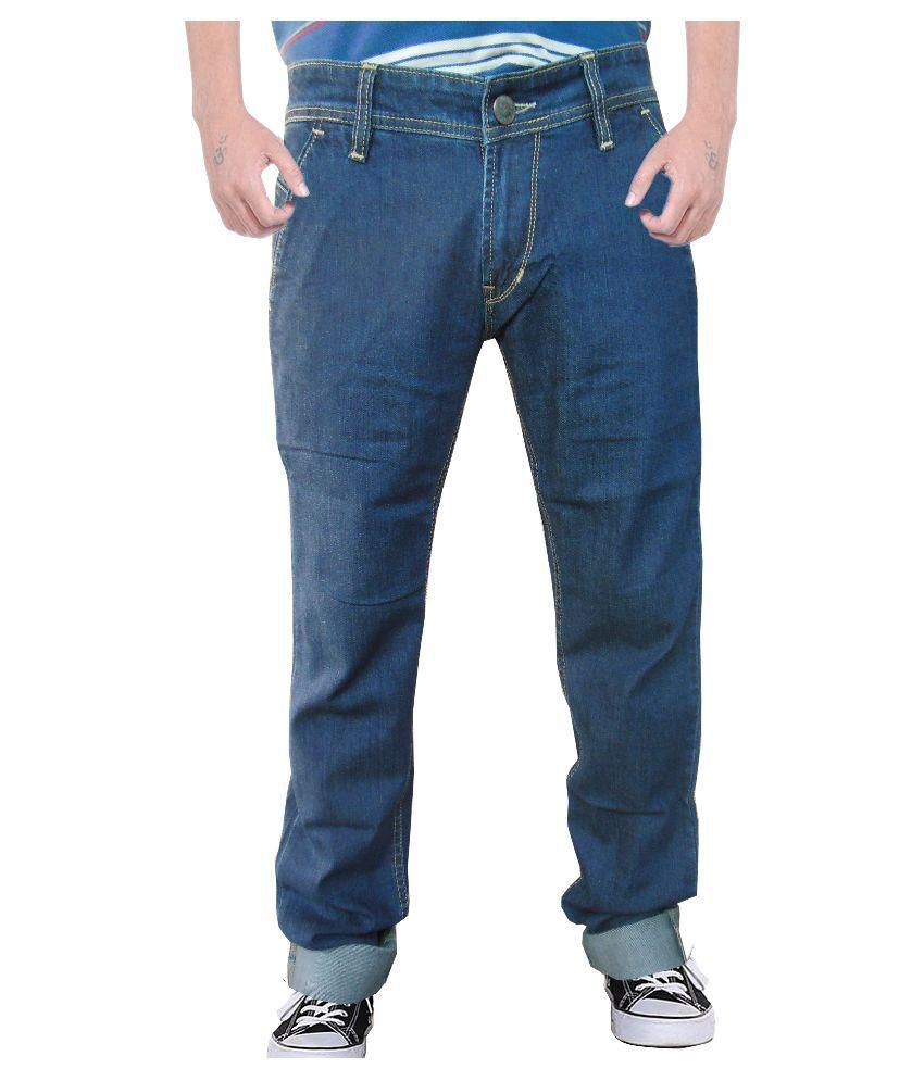 Outfox Blue Slim Solid Jeans