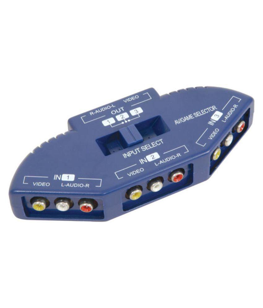 Buy Vardhman Vec O3 Way Audio Video Av Splitter Selector Switch Box 3 Channel