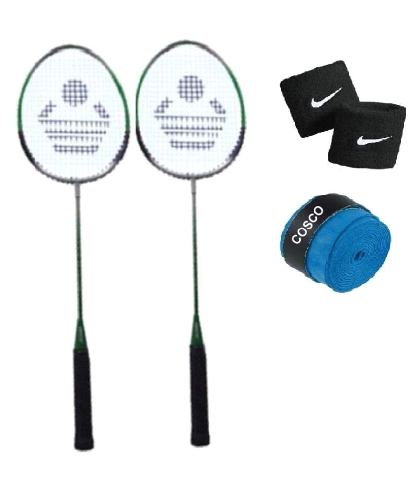 Combo of Cosco CB-85 Badminton Racket / Shuttlecock Bat (Set of 2) with Extra Replacement Grip & String & FREE Pair of Wrist Band