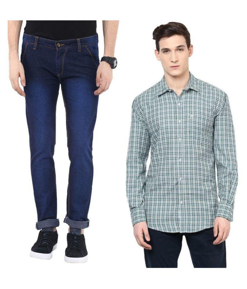 Urbano Fashion Combo of Slim Fit Jeans and Shirt