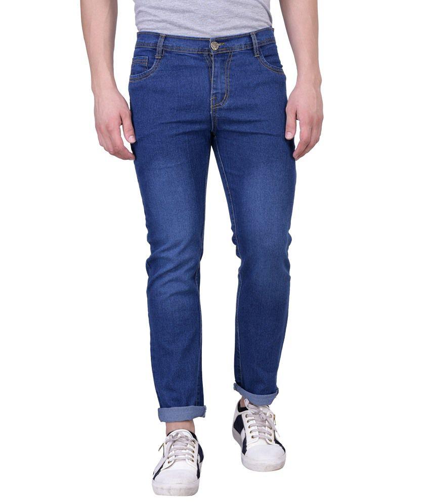 London Looks Blue Regular Fit Faded Jeans