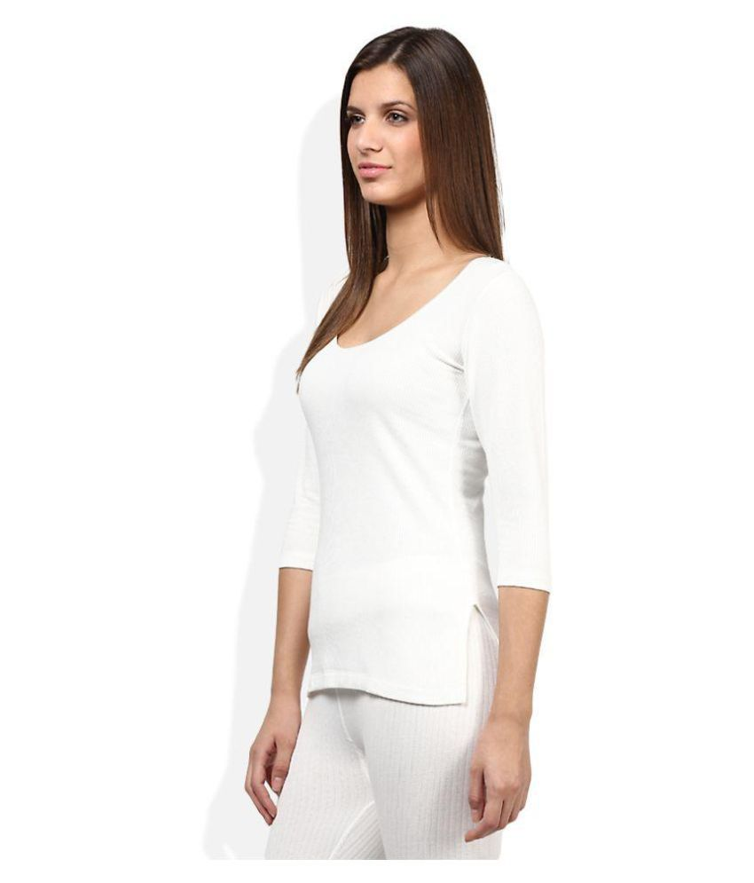 1043459ebf87 Buy Redfort Women White Slip and Full Sleeve Thermal Topwear Online ...