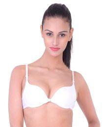 Dealseven Fashion White Nylon Push Up Bra