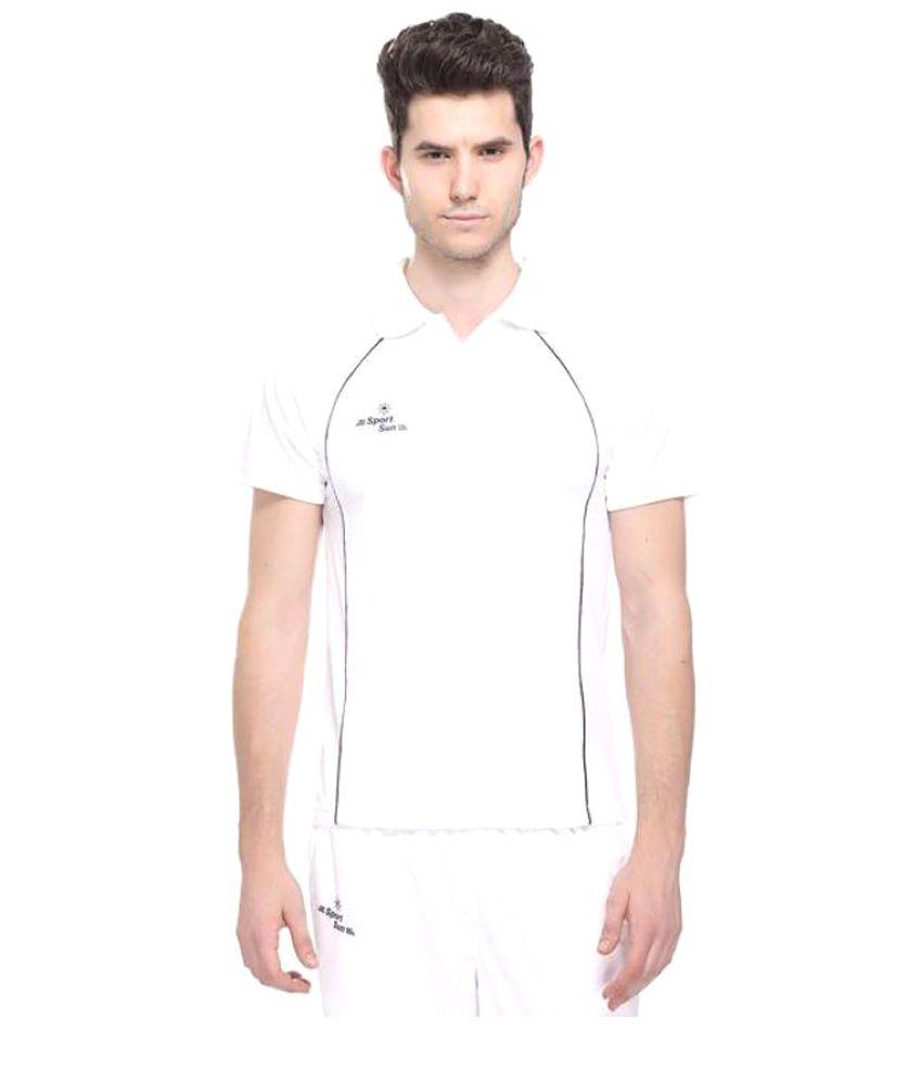 Sport Sun White Cricket Polo T-Shirt