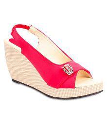 Shoe Lab Pink Wedges Heels