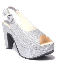 Shoe Lab Silver Block Heels