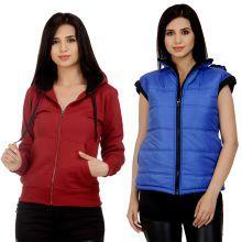 Darwin Multi Color Fleece Bomber Jackets With Sweatshirt - 627831088764