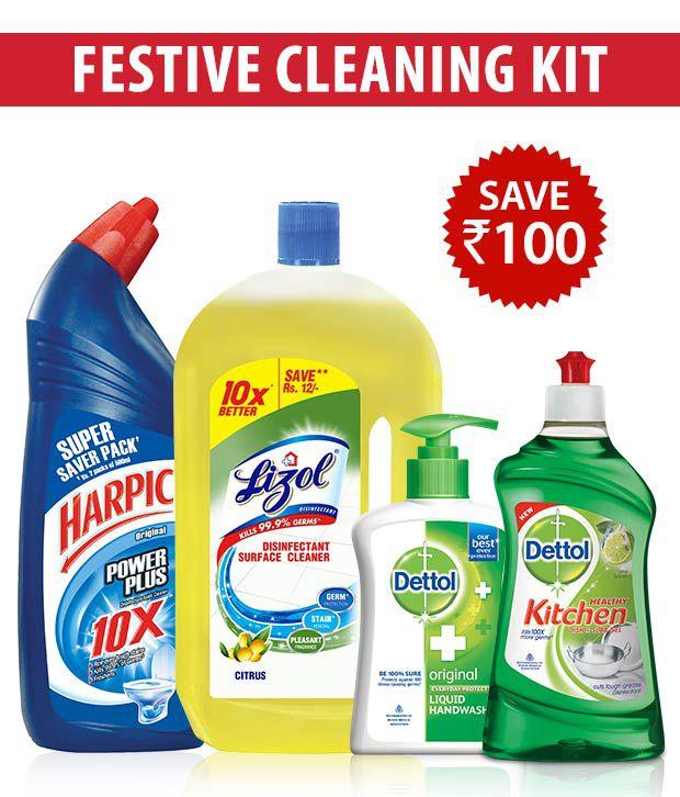 Upto 25% off On House & Kitchen Cleaners BySnapdeal | Festive Cleaning Kit- Harpic Original 1 Ltr+ Lizol Citrus 975ml + Dettol Handwash 215Ml+ Dettol Kitchen Gel Lime 400 Ml@ Rs.375