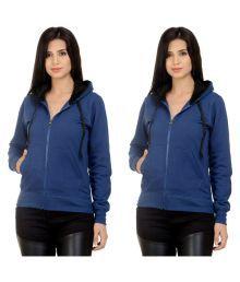 Darwin Blue Cotton Fleece Hooded Sweatshirts - Pack Of 2