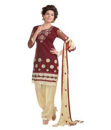 Fashion-e-king Maroon Cotton Dress Material