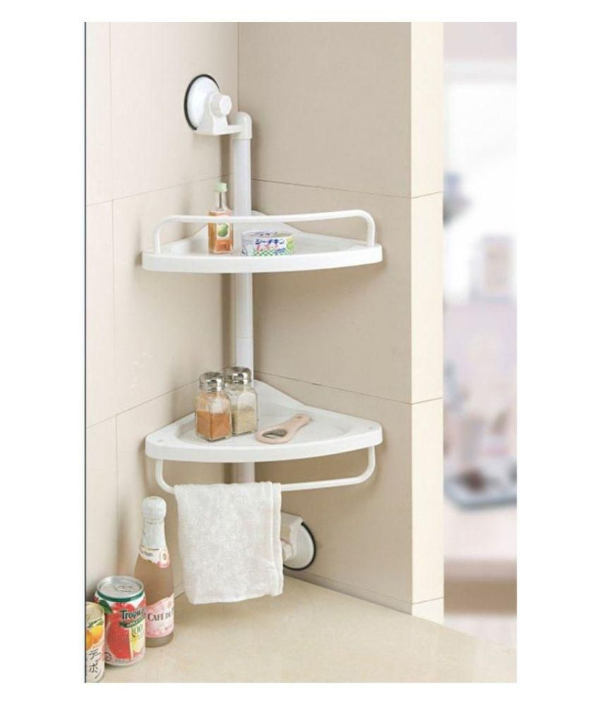 Buy Shopper 52 Plastic 33x25x70 Cm Bathroom 2 Tier Corner Shelf Suction Based Bathroom Cabinet Toothbrush Holder Toothpaste Brush Stand Bathroom Accessories Set Shelves Rack Washroom Accessories Online At Low Price In India Snapdeal