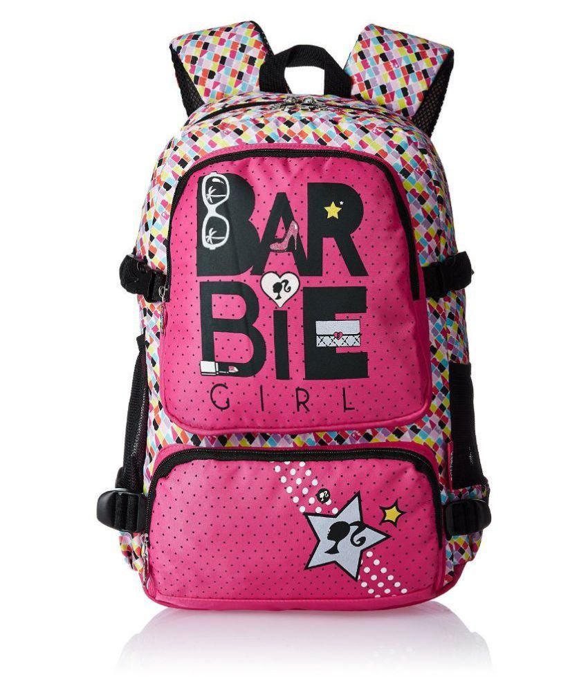 Barbie Girl Pink and Black Back 19 inch School Bag