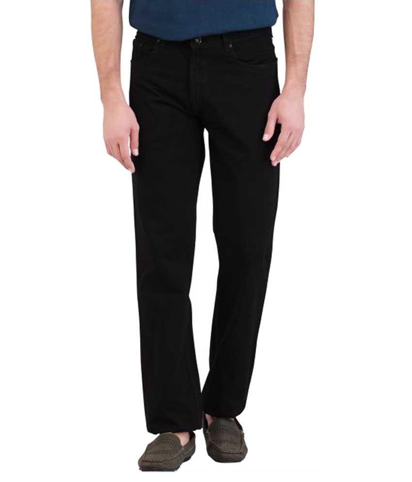 DJ&C By Fbb Black Regular Fit Solid Jeans