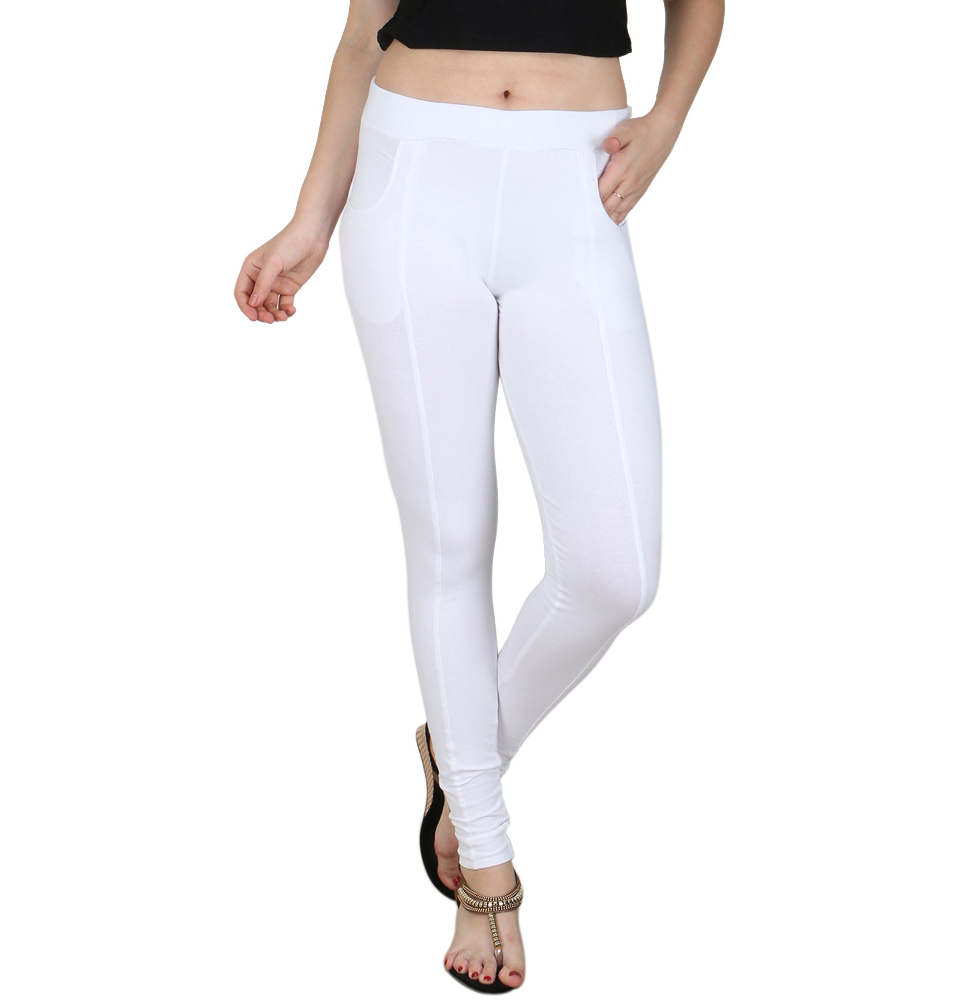 Faded Finch White Cotton Lycra Jeggings