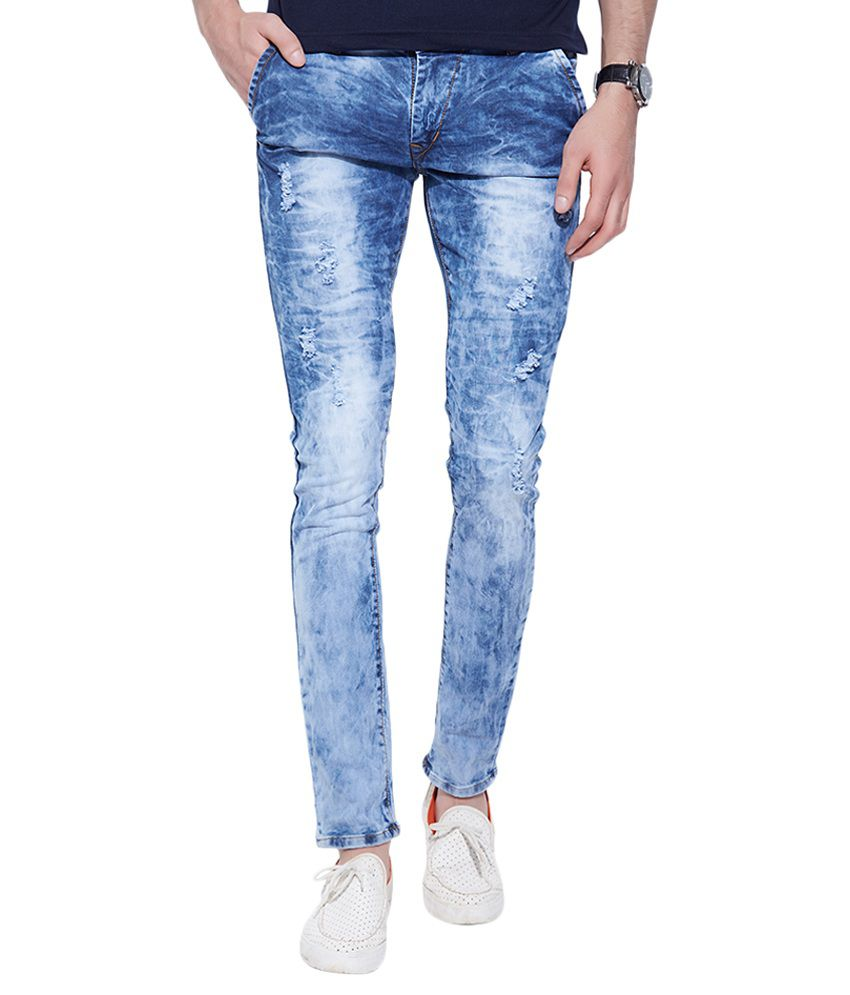 Go India Store Blue Regular Fit Distressed
