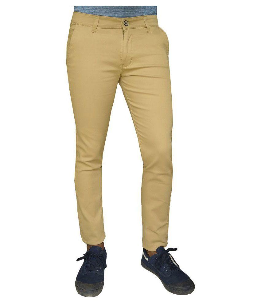 damler Beige Slim Flat Trouser