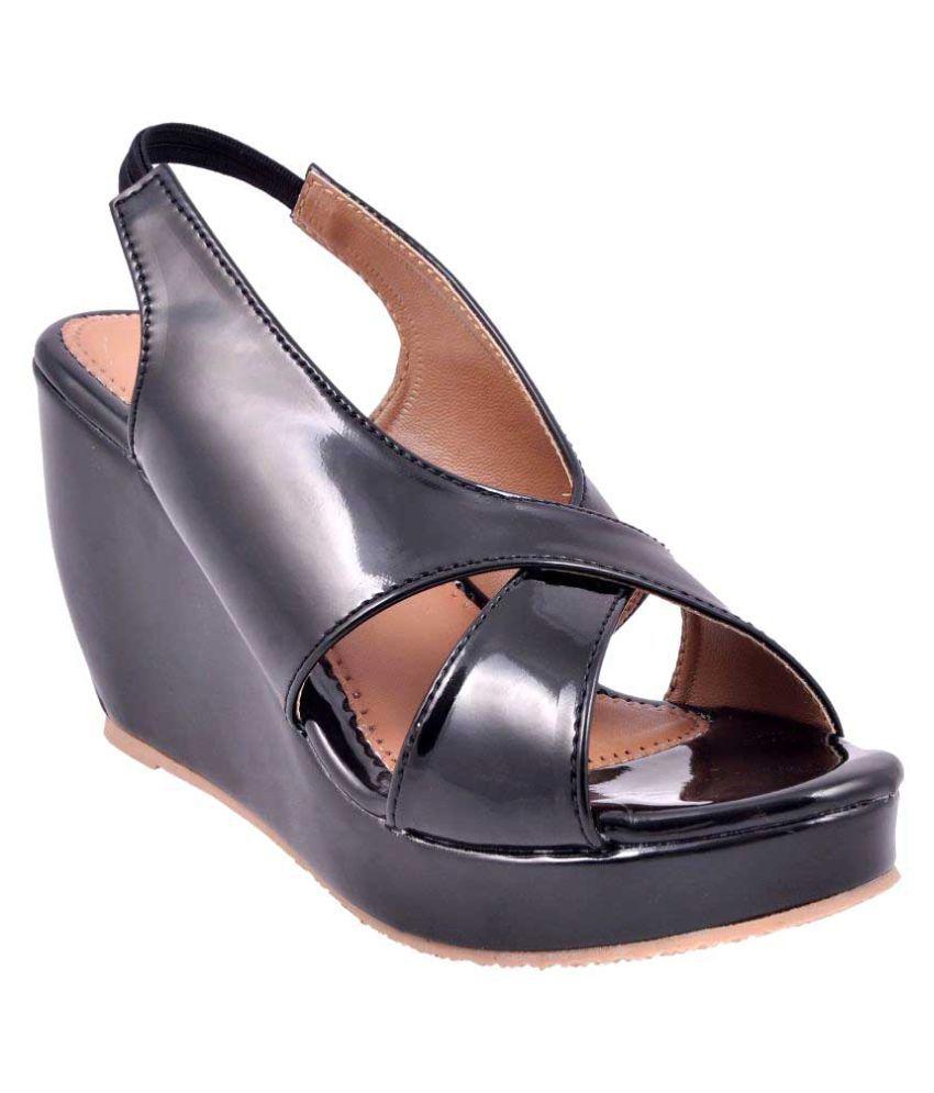 Girlstep Black Wedges Heels