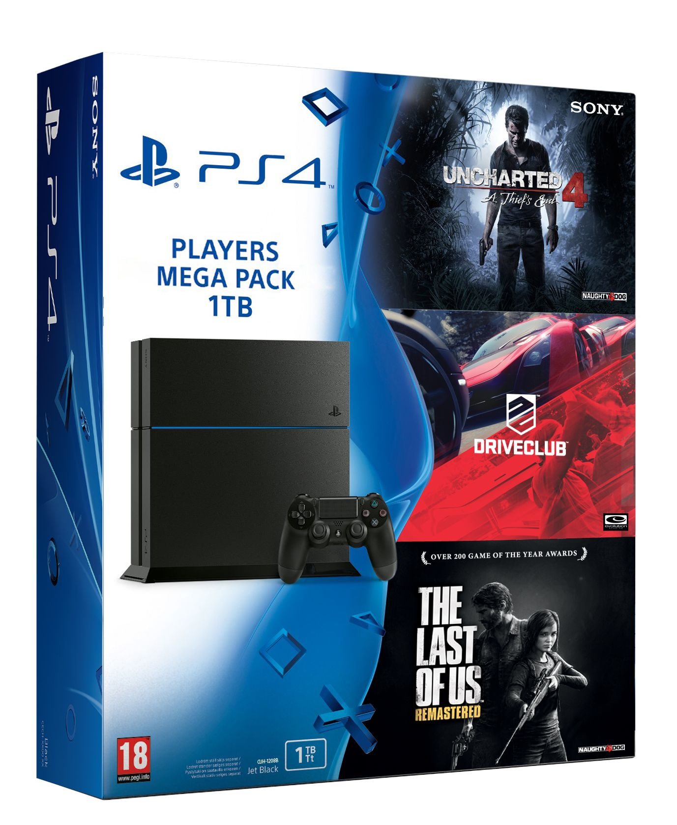 Sony Playstation 4 1TB Console Super Bundle with 3 Games (The Last of US ,Drive Club and Uncharted 4)