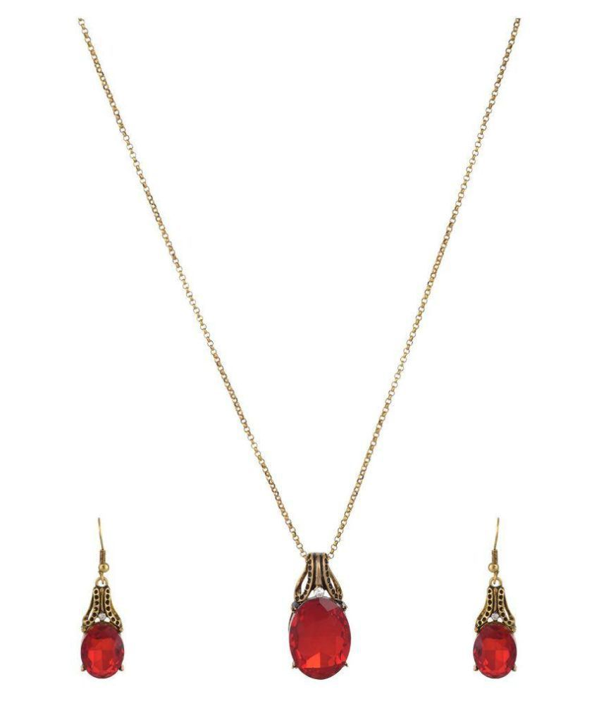 High Trendz Red Pendant Set