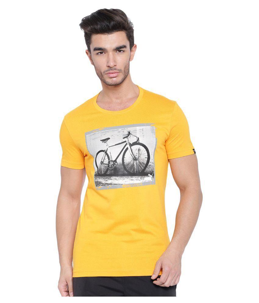Puma Mens Yellow Graphic T-shirt