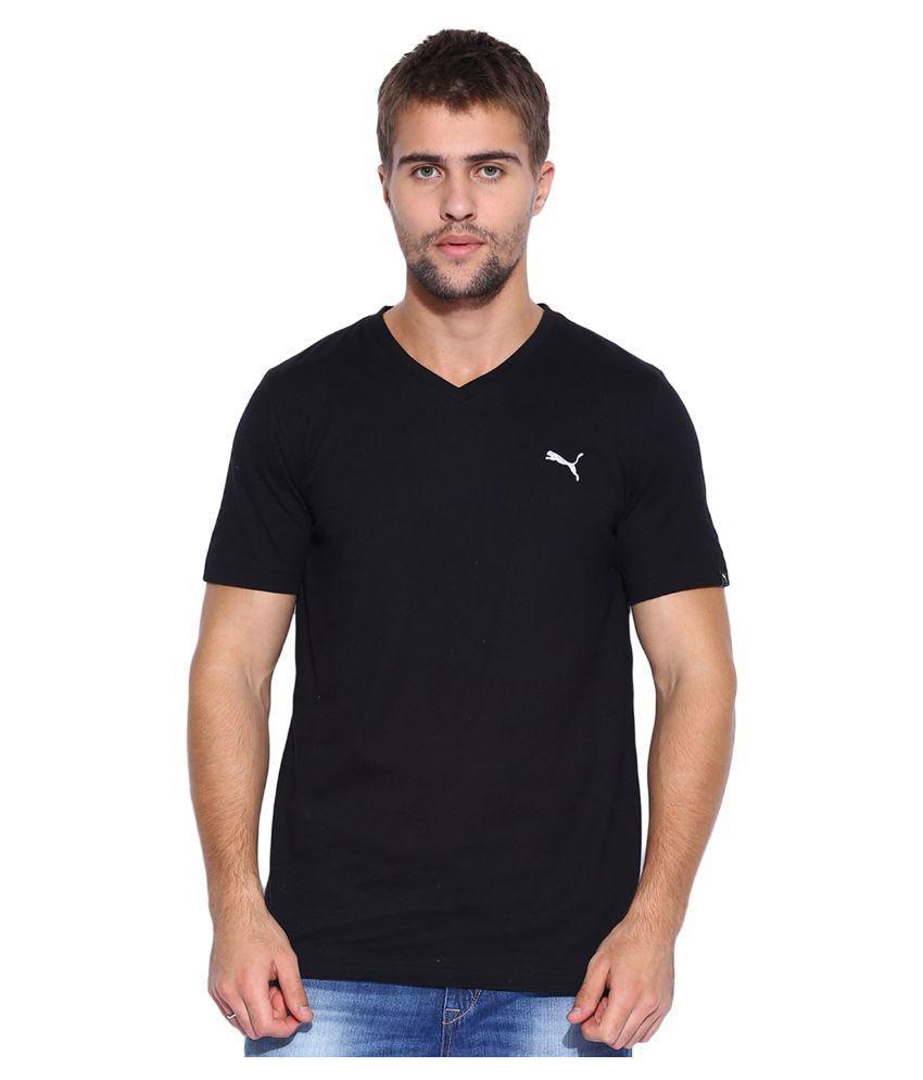 Puma Mens Black ESS V-Neck T-shirt
