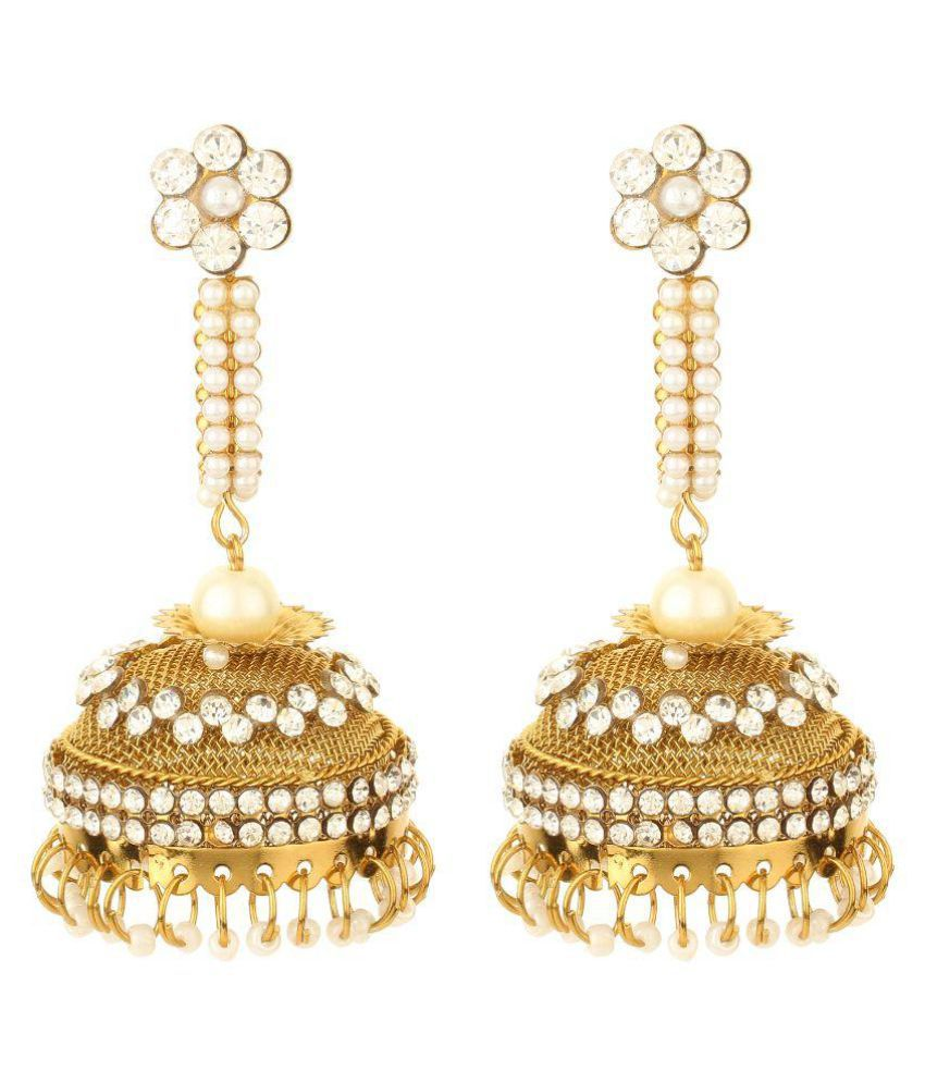 HS Jewels Golden Jhumki Earrings