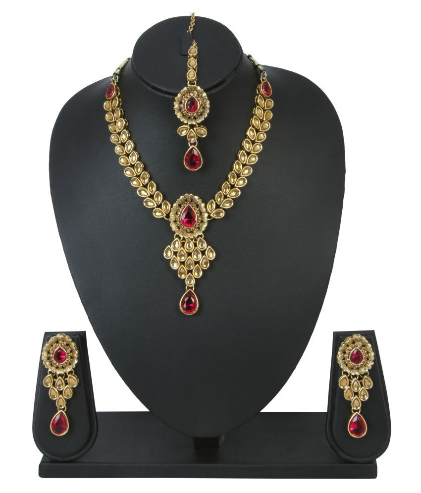 Ishin Multicolour Alloy Necklace Set with Maang Tika