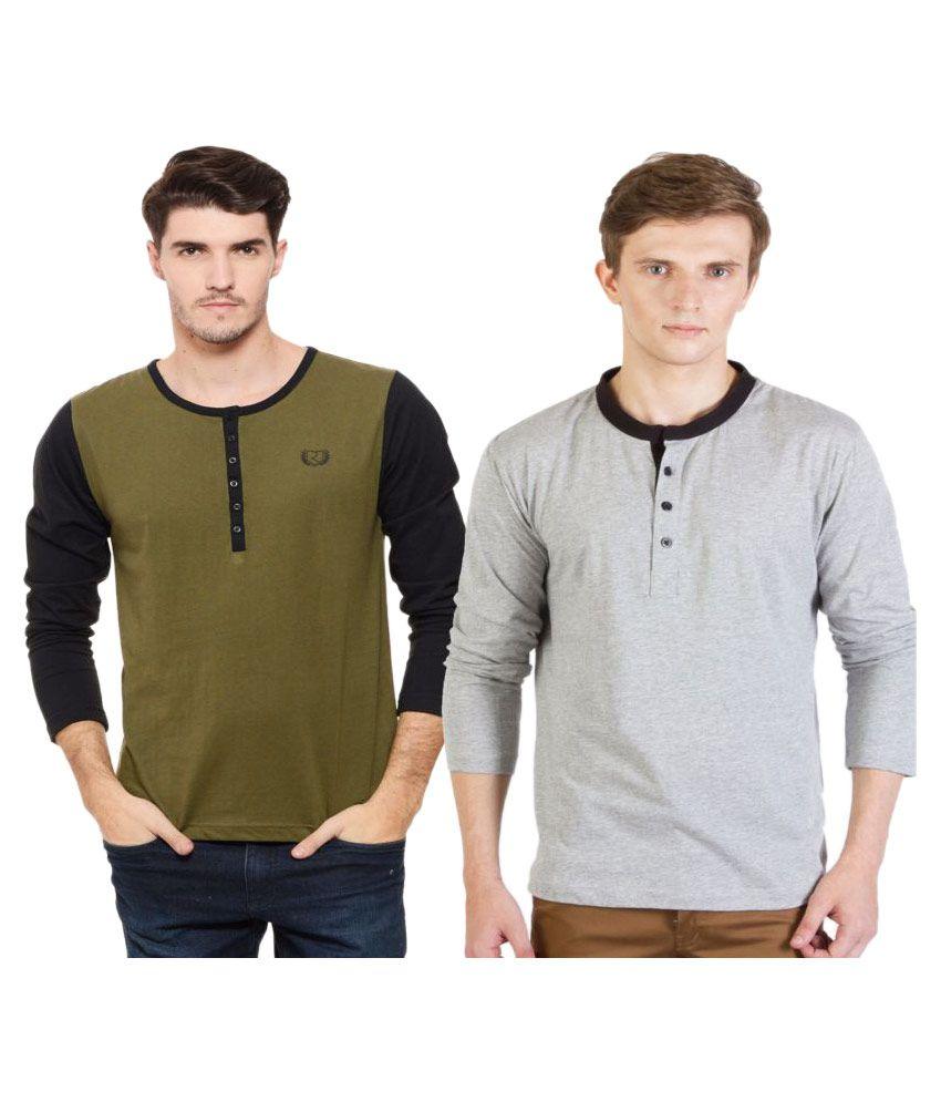 Rigo Multi Henley T-Shirt Pack of 2