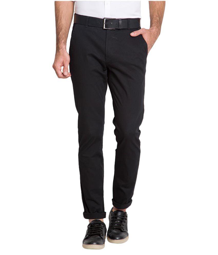Highlander Black Slim Flat Trouser
