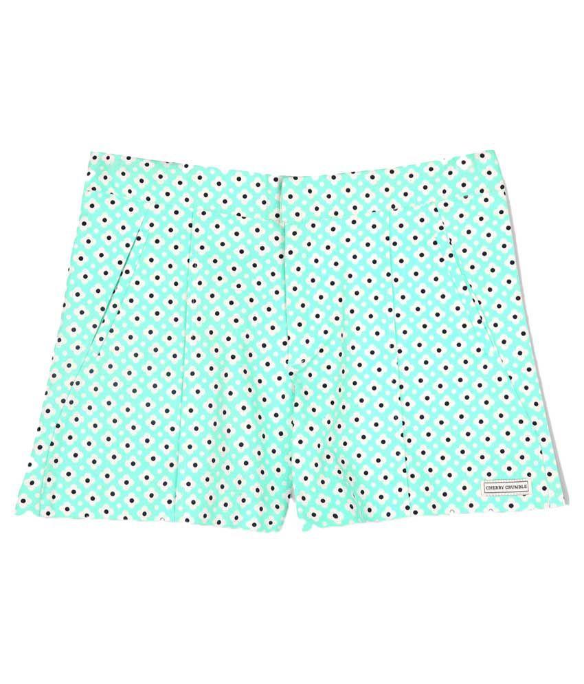 Cherry Crumble California Green Cotton Hot Pants
