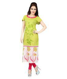 Cotton Culture Green Rayon Straight Kurti