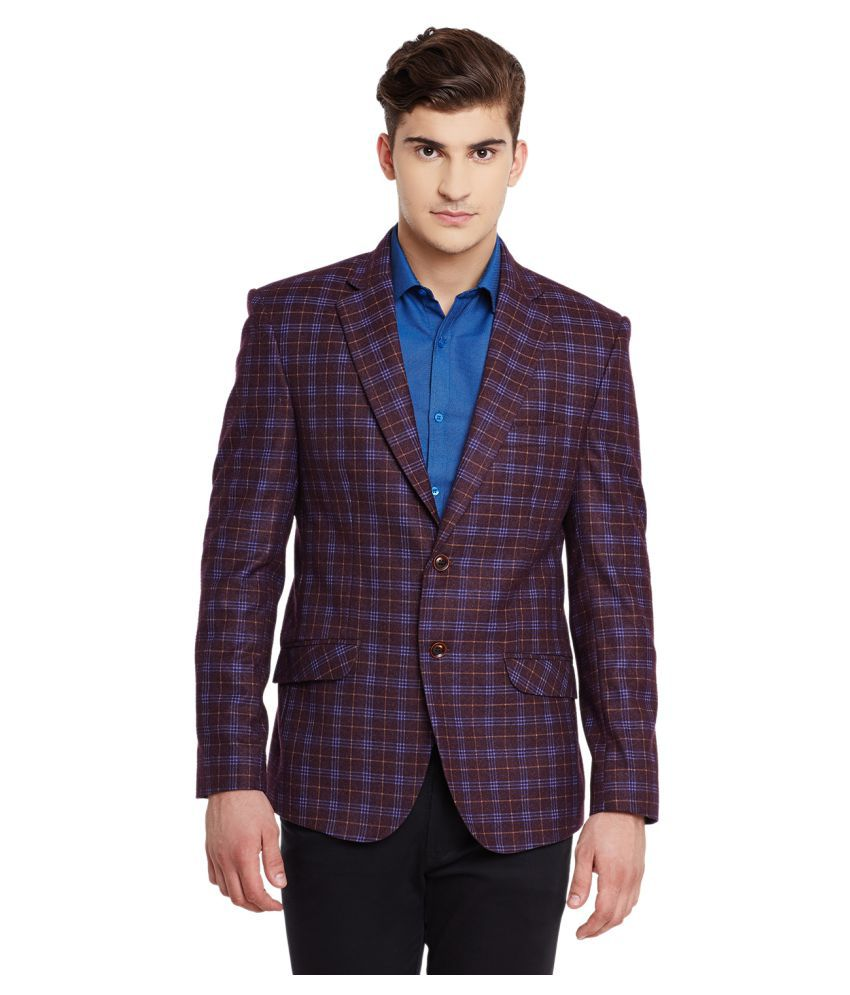 Canary London Purple Checks Casual Blazers
