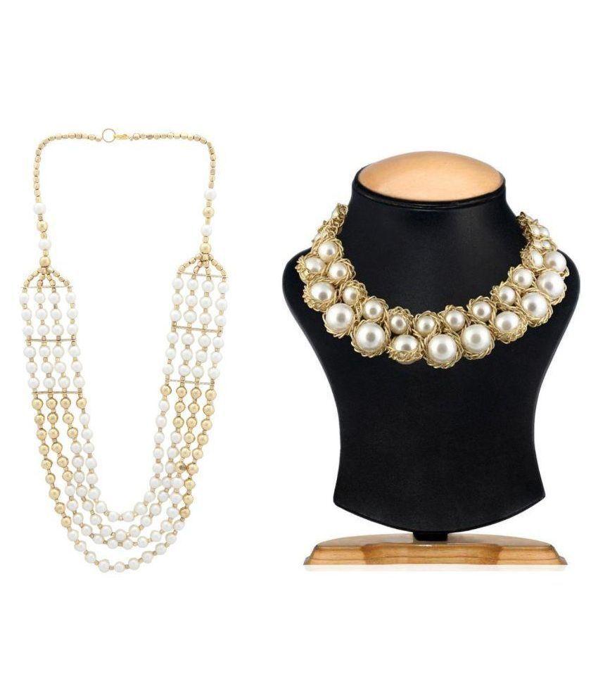 Shilpihandicrafts Off White Necklace Set of 2