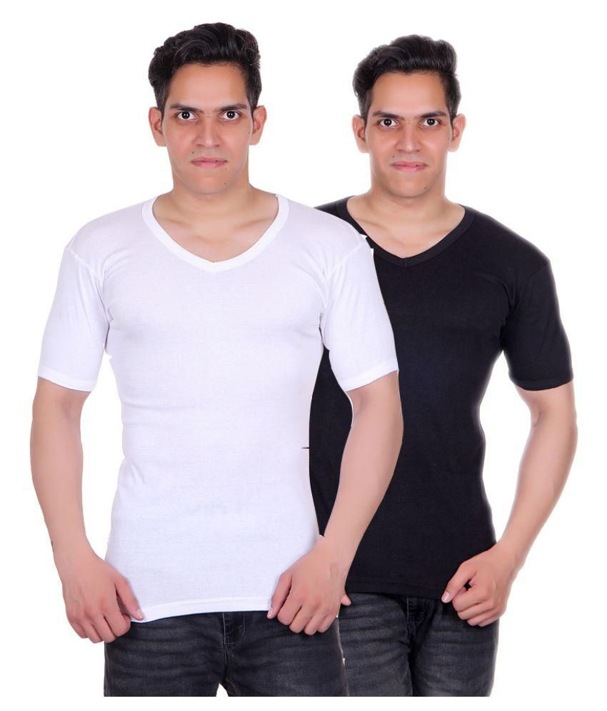 White Moon Multi V-Neck T-Shirt Pack of 2