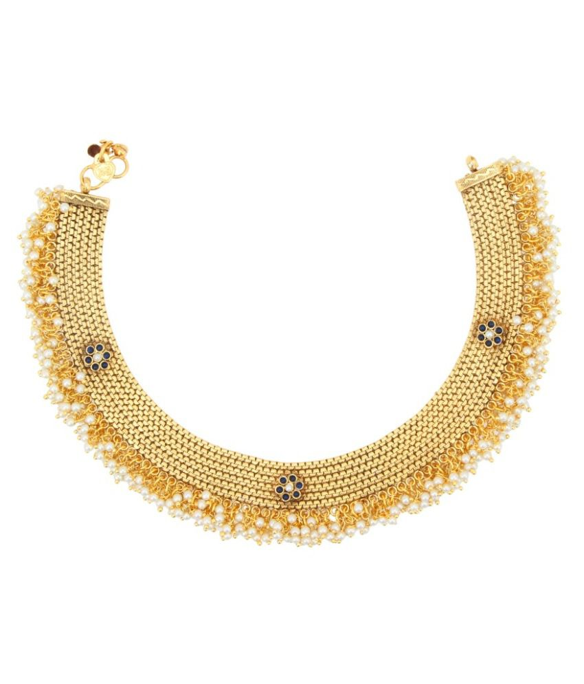 ADIVA Golden Pearl Anklet Set