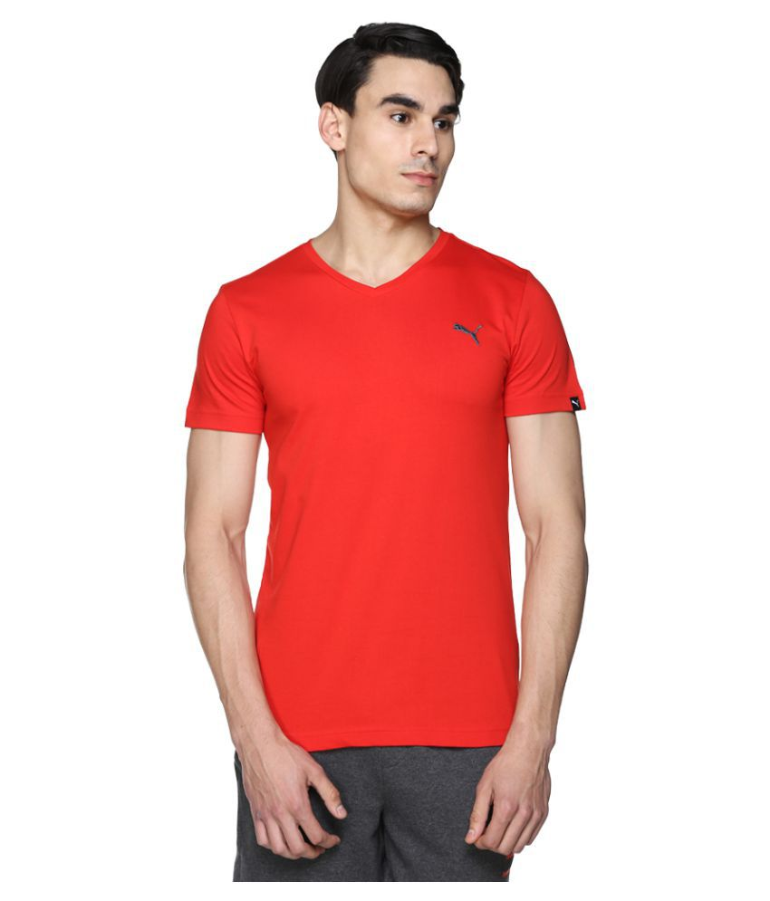 Puma Red V-Neck T-Shirt