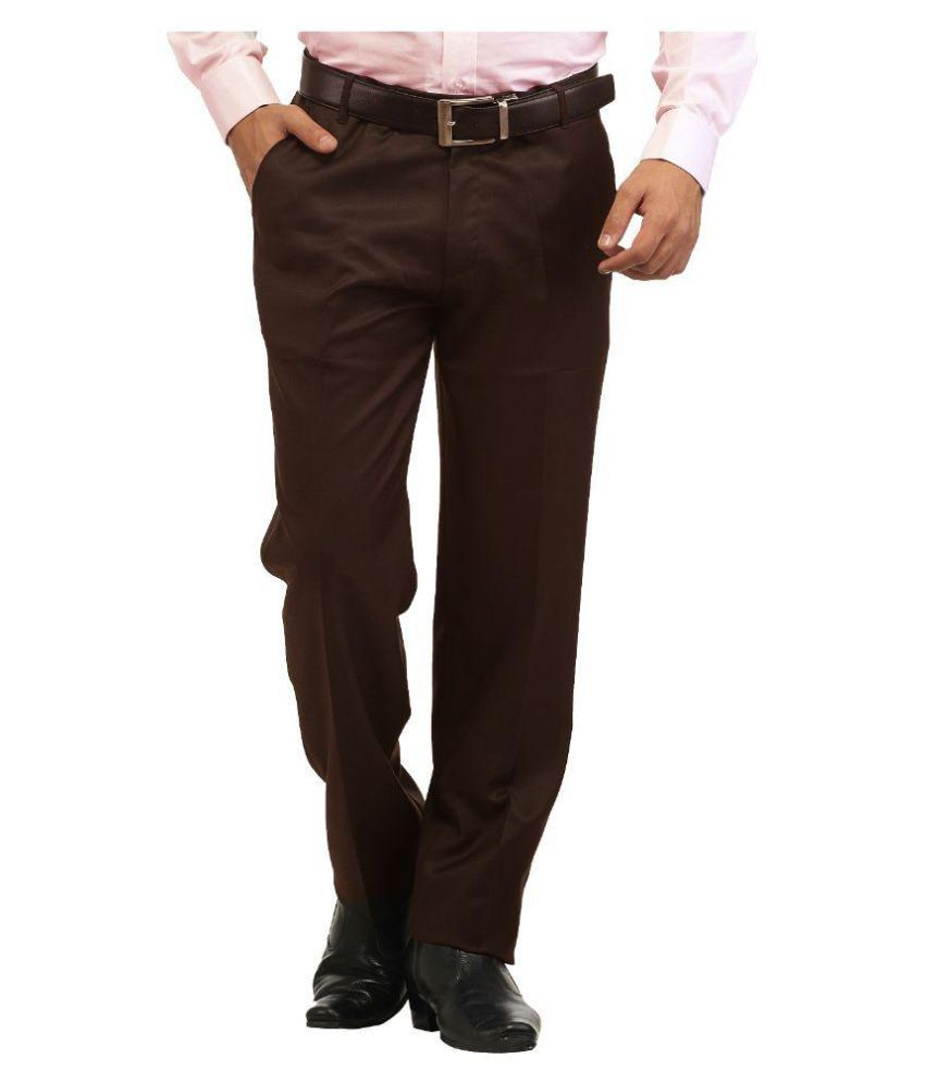 Inspire Clothing Inspiration Brown Slim Flat Trouser