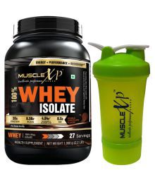 MuscleXP 100% Whey Isolate With Shaker - Design 3 - 1 Kg Double Rich Chocolate