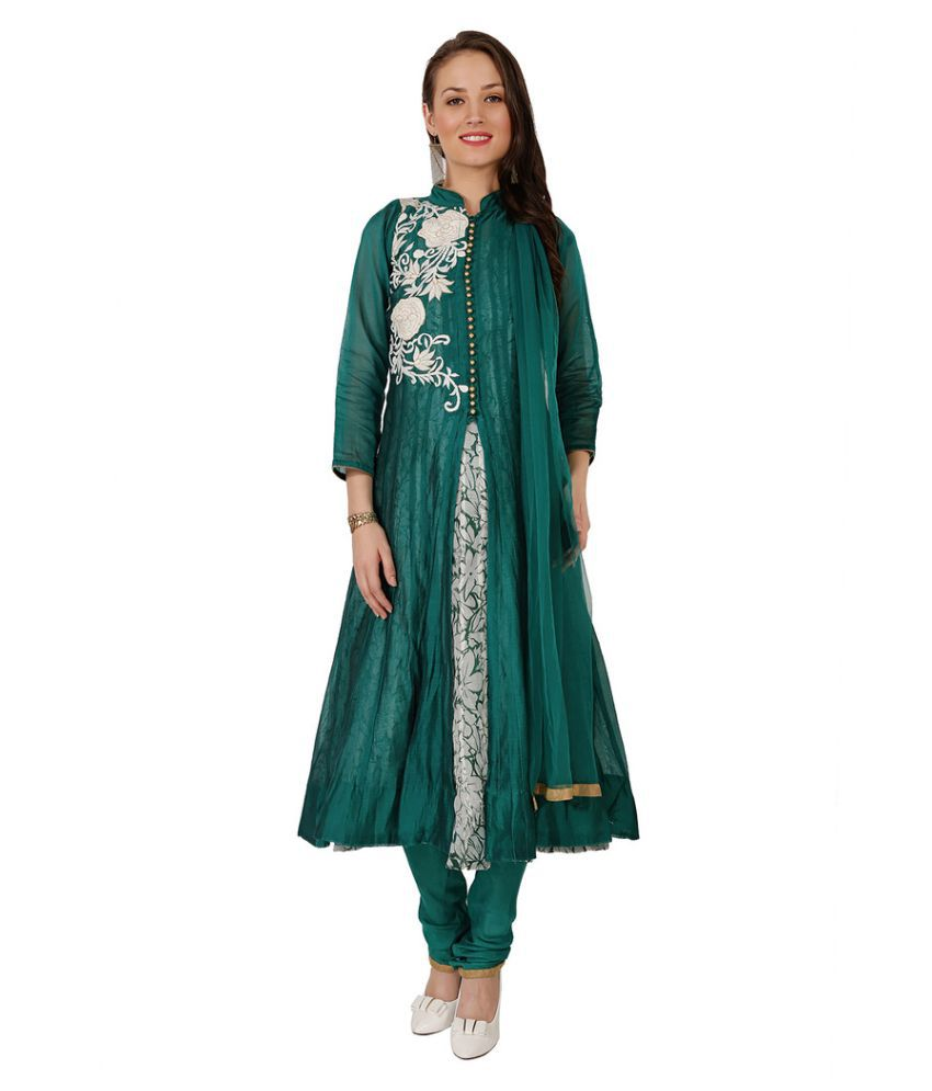 Jazzup Green Chanderi Anarkali Stitched Suit