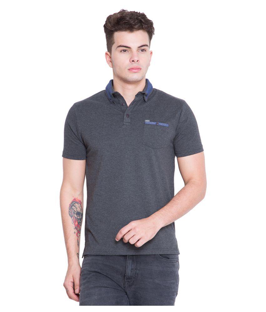 LOCOMOTIVE Grey Slim Fit Polo T-Shirt