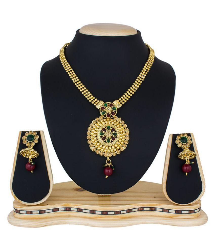 The Luxor Stone Studded Golden Necklace Set