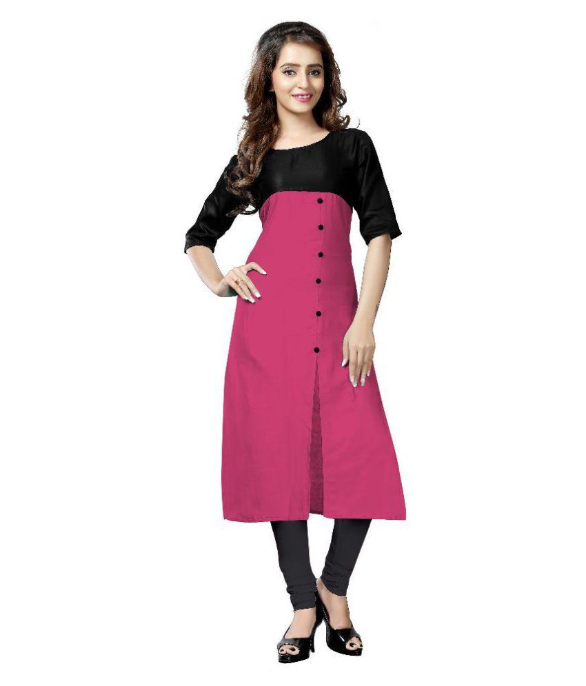 Royal Fashion Pink Satin Straight Kurti