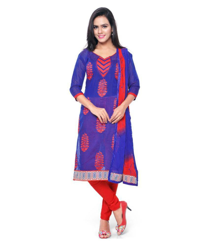 Swaron Blue Chanderi Dress Material