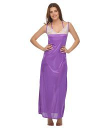 Miss Clyra Purple Poly Satin Nighty & Night Gowns