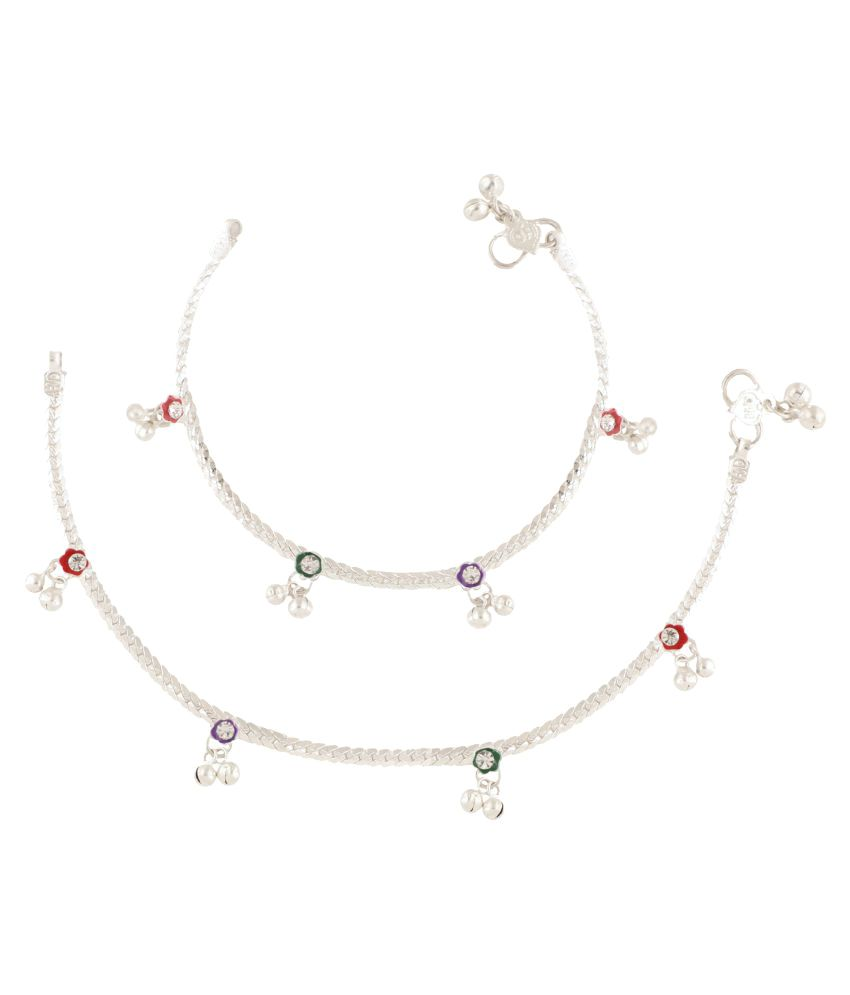 Fashionaya Silver Plated Alloy CZ Single Pair Anklets