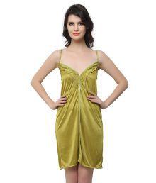 Miss Clyra Green Poly Satin Nighty & Night Gowns
